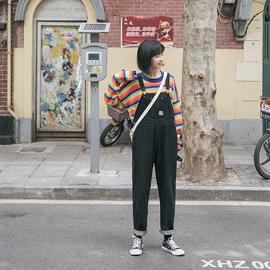 忠犬小八梨形自制-黑色牛仔背带裤-春季宽松韩版百搭背带裤学生女