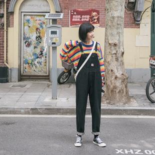 忠犬小八梨形自制-黑色牛仔背带裤-秋季宽松韩版百搭背带裤学生女