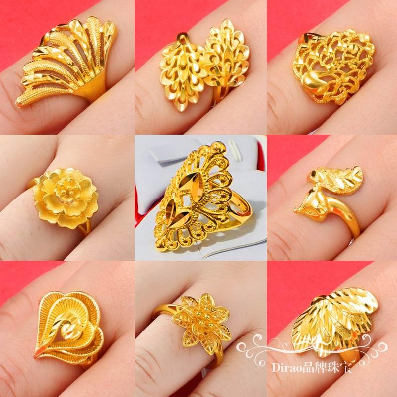 越南沙金戒指女花朵开口指环24k正品镀金戒指女士婚庆假黄金