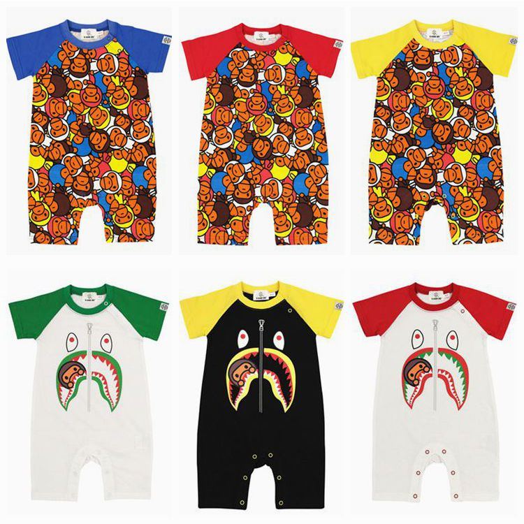 Trendy 2021 summer new mens and womens baby cotton short sleeve Jumpsuit climbing suit baby cartoon Jumpsuit ha