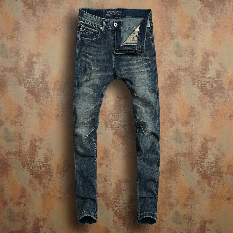 Sigoto Europe and the United States retro three-dimensional cutting cat whisker scratch mid low waist slim elastic leg jeans mens autumn