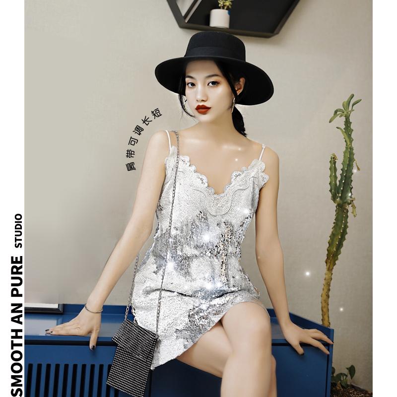 12月01日最新优惠夜店银色性感蕾丝亮片吊带感连衣裙