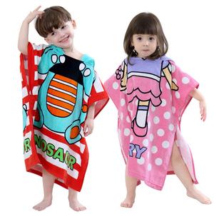 卡通浴巾纯棉儿童浴袍浴巾套头披风男童女童Children towel