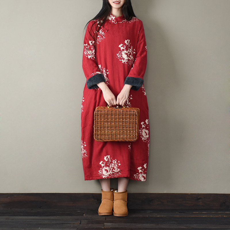 Winter dress ethnic style Plush large size dress medium length retro robe cotton linen womens thick cotton robe cotton clothes women