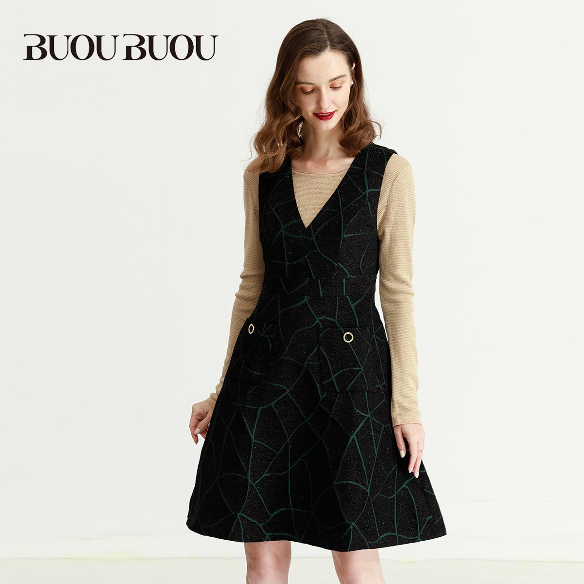 BUOUBUOU女装奥莱时尚V领无袖收腰连衣裙BD3G370