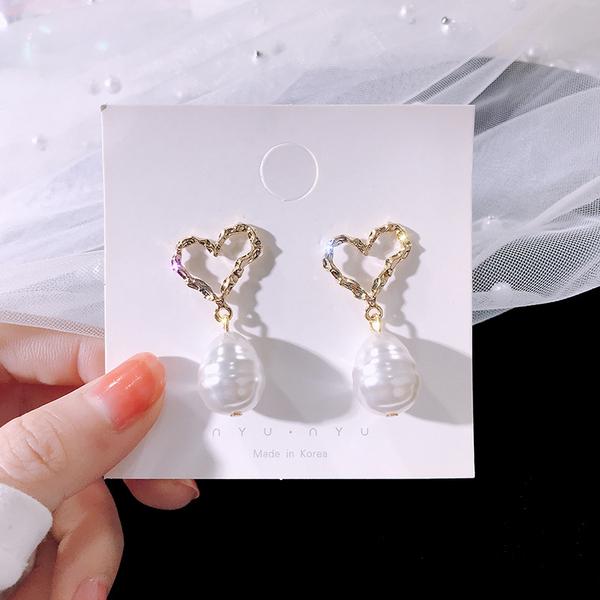 TS41814#S925银针气质百搭镂空爱心耳环女珍珠吊坠耳钉耳饰品