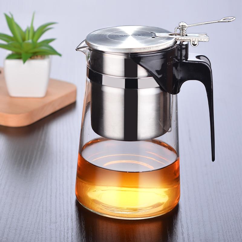 小象人泡茶壶飘逸杯可拆洗全过滤304不锈钢内胆玻璃玲珑杯耐高温