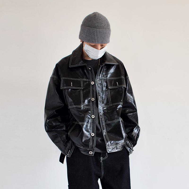 Autumn winter tide retro American style open line Lapel motorcycle suit mens loose PU leather jacket jacket jacket