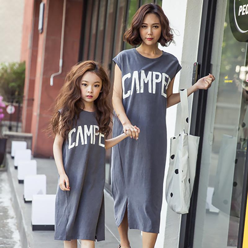 女童连衣裙夏季2018新款韩版母女装裙子儿童装中大童夏装洋气长裙