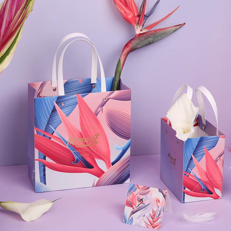 素念 ins风格渐变天鹅礼物袋礼袋礼品袋婚庆礼物包装袋时尚手提袋