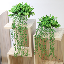 wo+ simulation hanging orchid hanging rattan green vine money rattan with flowerpot bookshelf Shelf rack wine cabinet fresh green planting decoration