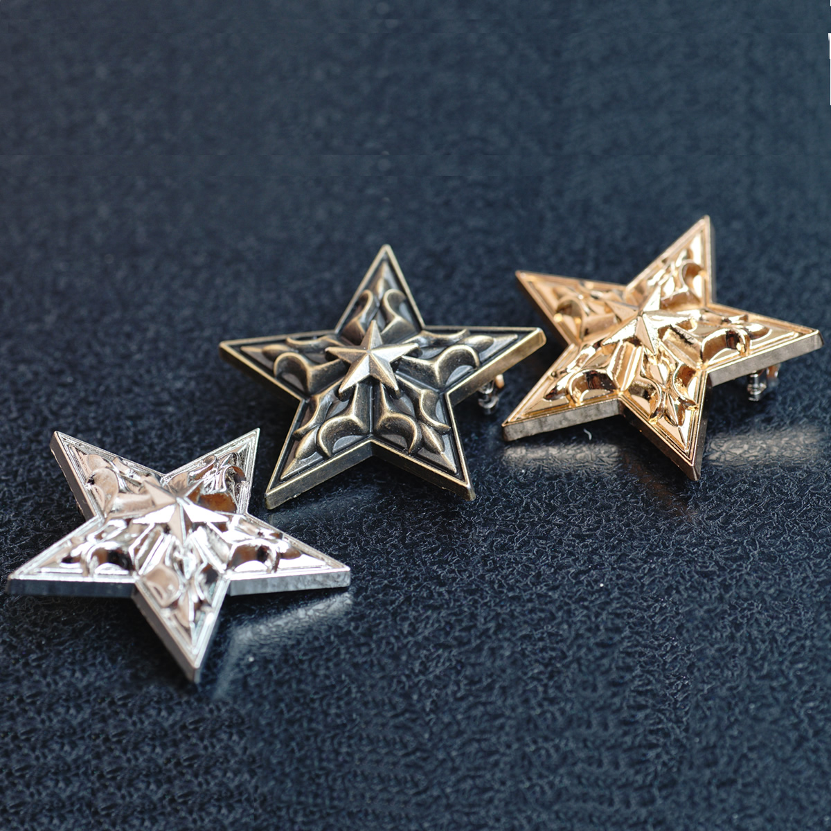 New Brooch European and American classic five pointed star badge gold silver copper three color metal BROOCH BADGE jewelry