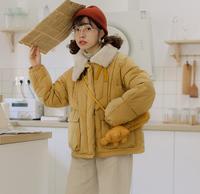过片自制秋冬日系少女毛毛领皮扣