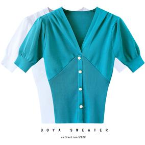 性感露胸针织短袖收腰紧身v领t恤