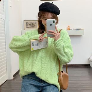 可可裏小姐店鋪泫雅粉色減齡麻花慵懶風寬鬆長袖針織毛衣女