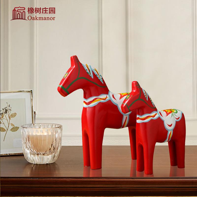 瑞典达拉红马木马摆件家居客厅创意