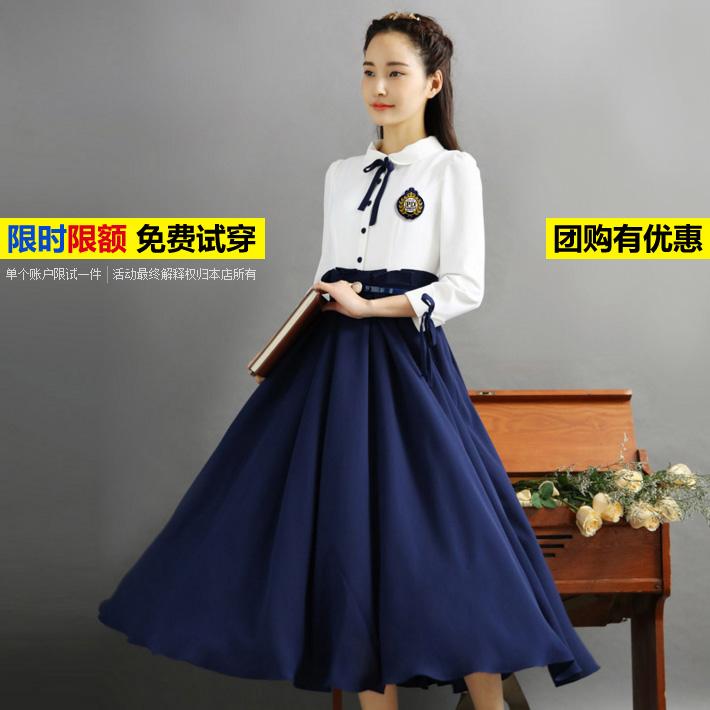 Republic of China style womens dress retro dress academy style literature and art long skirt students graduation photo class dress chorus performance dress