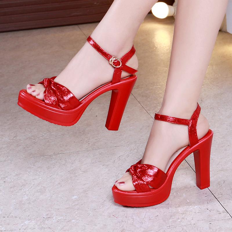 Sandals women summer high heels thick heels thick bottom waterproof platform golden red Sequin dinner dress 10cm wedding bride shoes