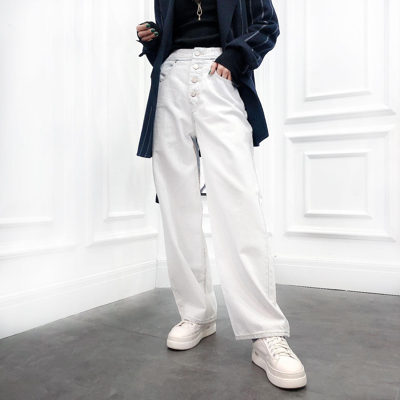 欧洲站2020春季新款高腰挽边阔腿裤纯色净版长裤牛仔裤女裤子欧货
