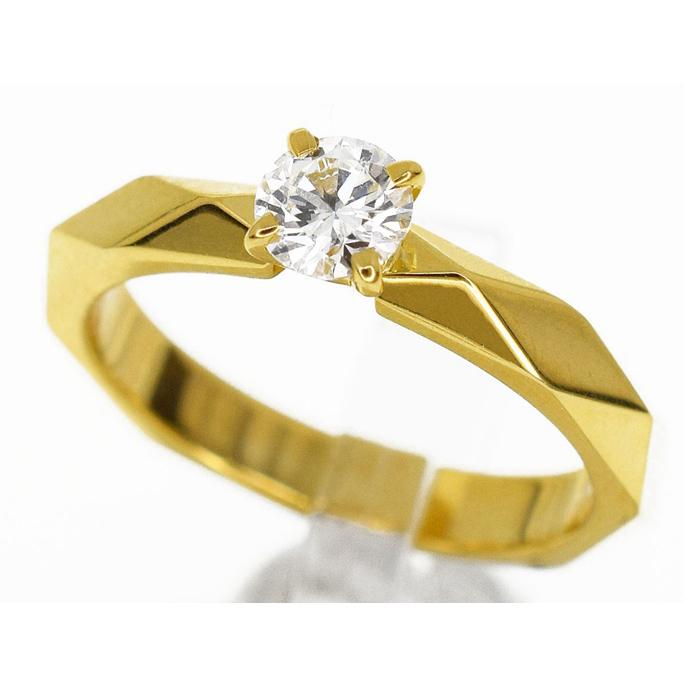 二手真品BOUCHERON宝诗龙18K黄金0.30ct F VVS1钻石戒指女士48号