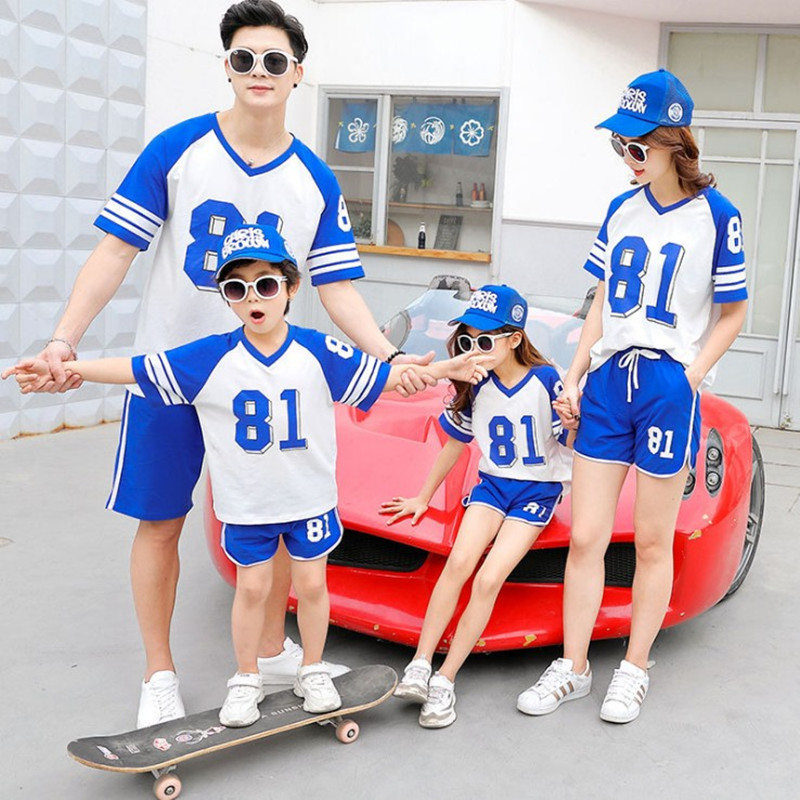 Two brothers parents and their childrens summer sportswear suit for a family of three, four and five