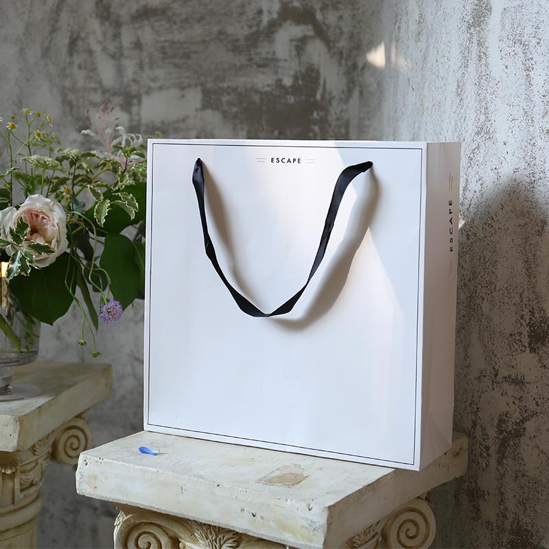 韩版简约专柜礼品袋服装店购物袋纸袋子白色手提袋定做可印logo