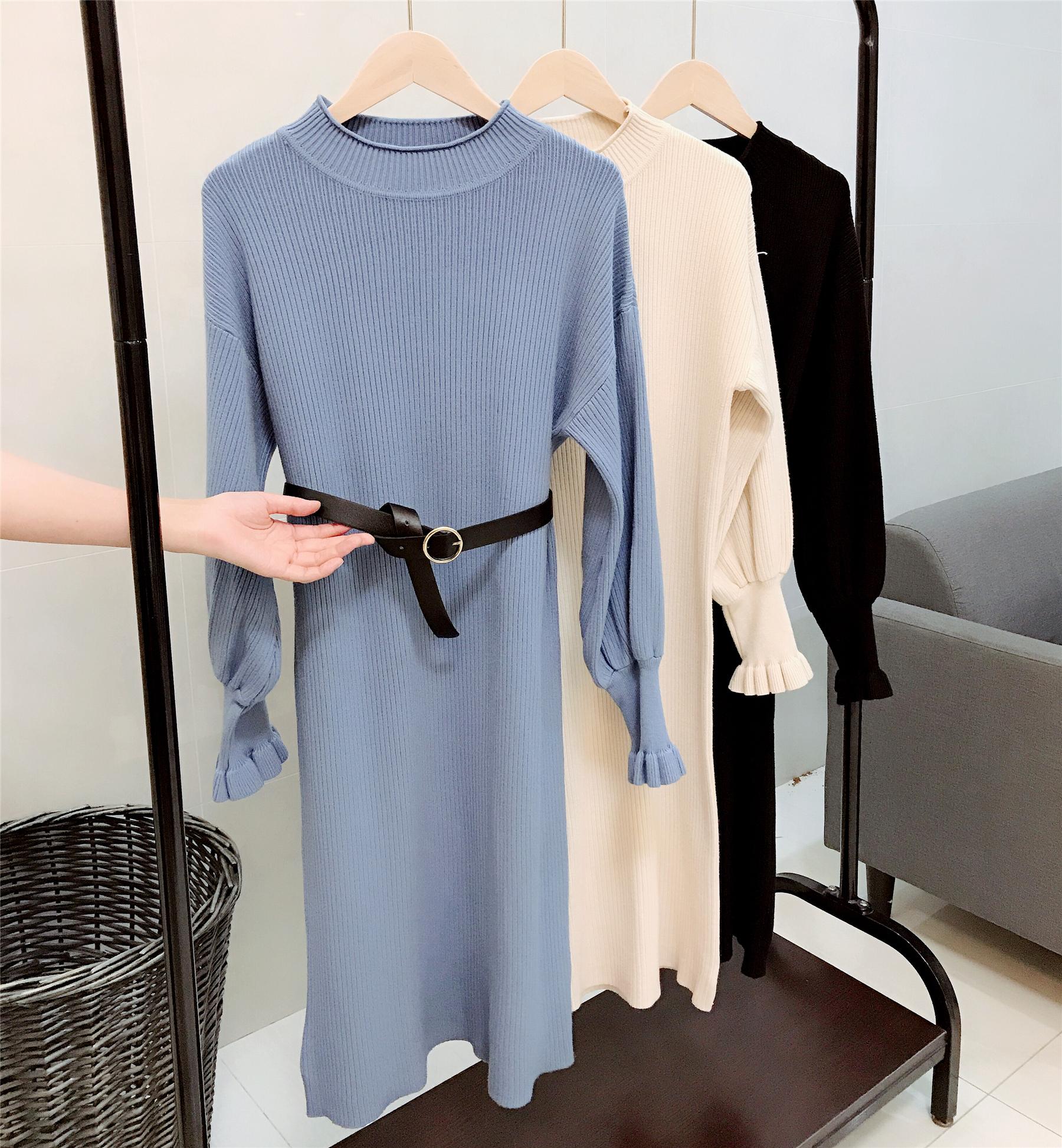 【限量200件99元,配腰带】专柜款 法式气质秋冬半高领长款毛衣裙