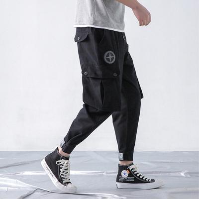 19纯棉九分大码工装裤子100%精品宽松潮流多口袋9分小脚裤619P65