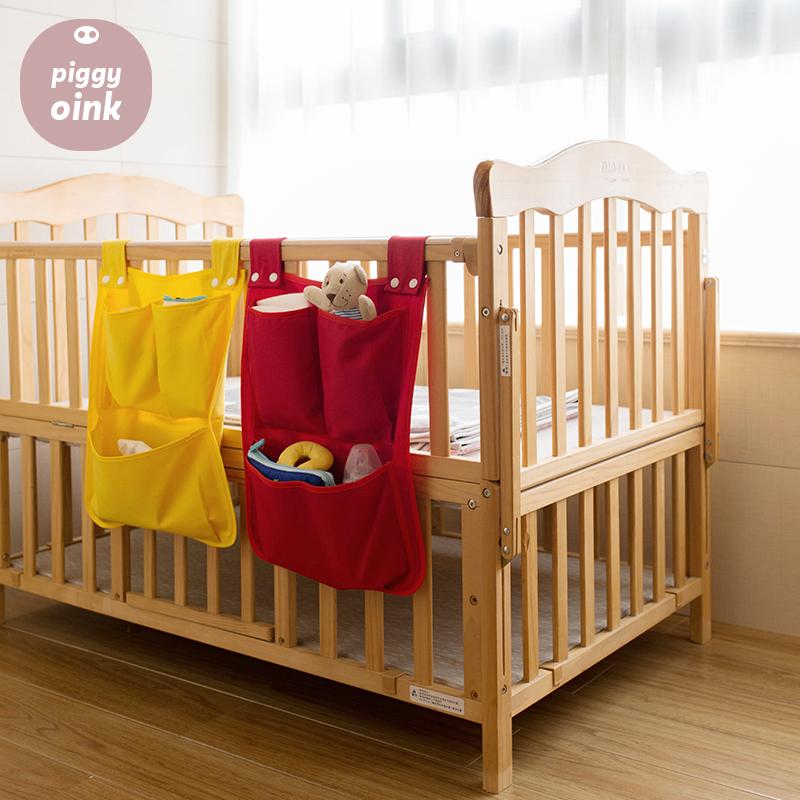 婴儿床收纳挂袋床头尿布袋床边挂袋收纳袋奶瓶放尿片可水洗不会塌