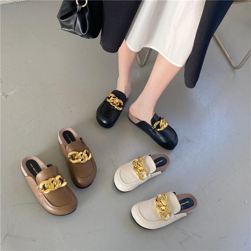 FQ3 实拍穆勒鞋女厚底防滑小皮鞋包头包趾金属环扣半拖鞋网红鞋拖