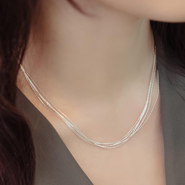 日韩国S925纯银多层细项链女士锁骨链简约气质优雅个性百搭甜美