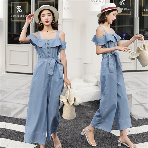 Summer back off shoulder loose wide leg one-piece pants clothes hot pants womens large fashion casual one-piece pants skirt