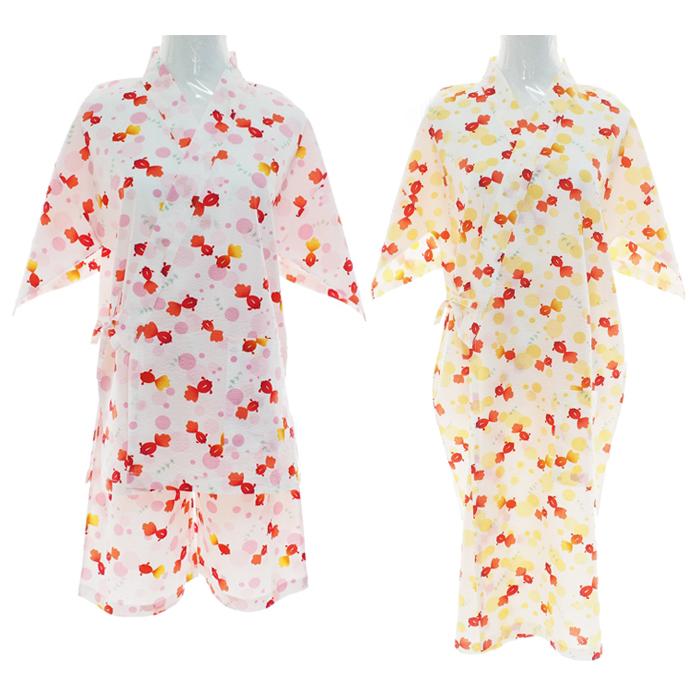 自制日式和风家居服开运金鱼浴衣浴袍甚平和服睡衣睡袍温泉汗蒸服