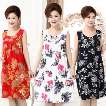 夏季中老年棉绸连衣裙薄人造棉裙子