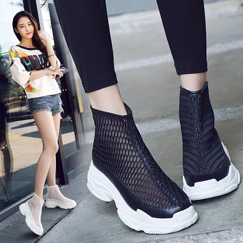 夏天网靴女凉鞋2018新款软底靴子厚底舒适女靴性感黑色透气短靴潮