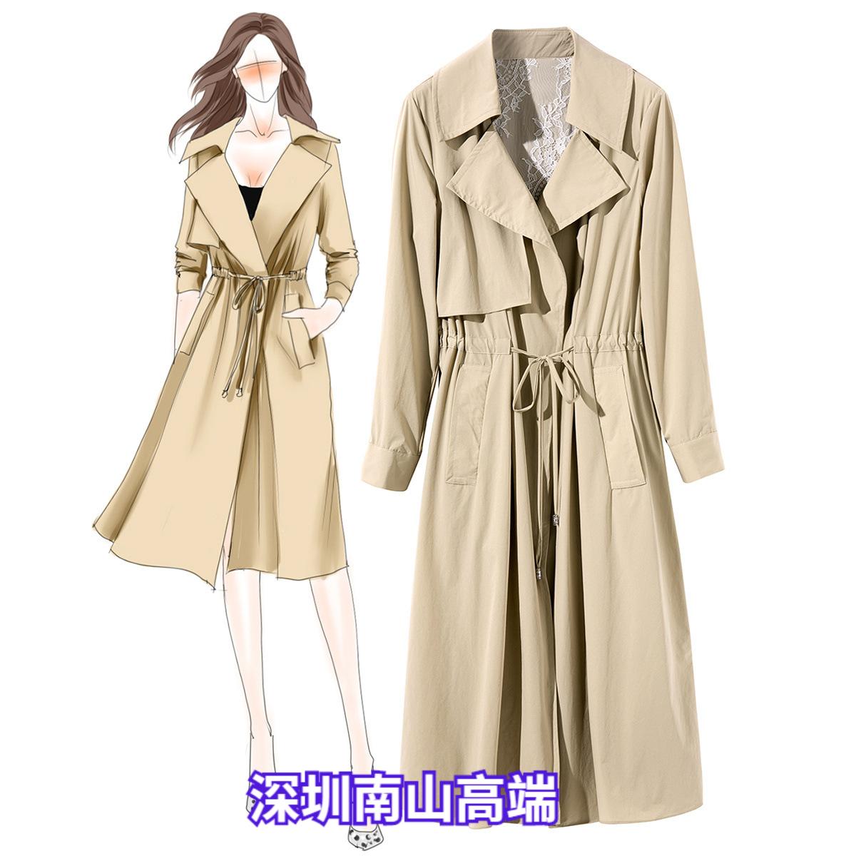 欧美风2019秋季新款中长款蕾丝风衣