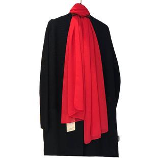 春夏乔其纱中国红纯色秋大红色丝巾