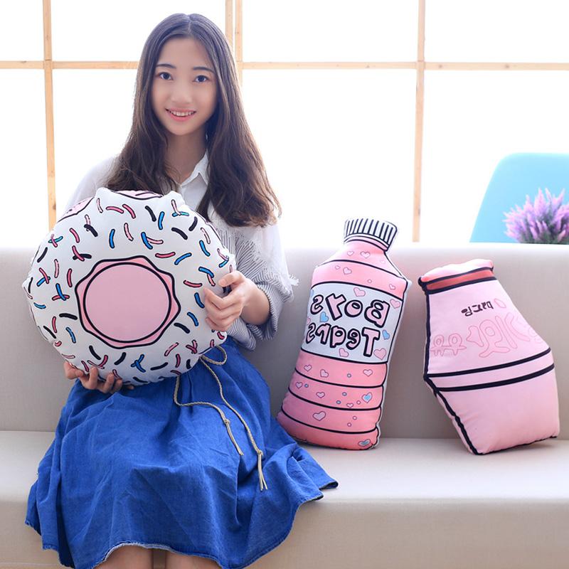 Ins в этом же моделье личность розовый подушка творческий бутылка плюш игрушка офис комната поясничный подушка девушка день рождения подарок