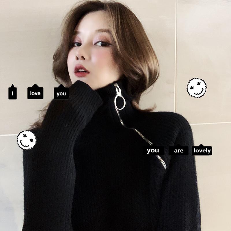 滕雨佳针织连衣裙女秋冬韩版2018新款打底中长款修身