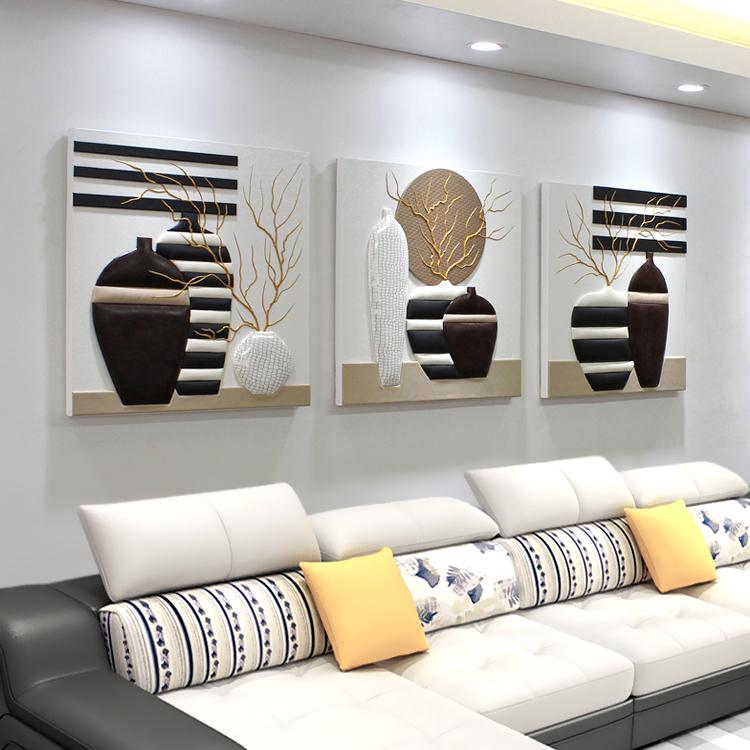 Гостиная диван фон стена декоративный живопись тройной бескаркасный современный простой черно-белое картины магазин джейн европа рельеф фреска