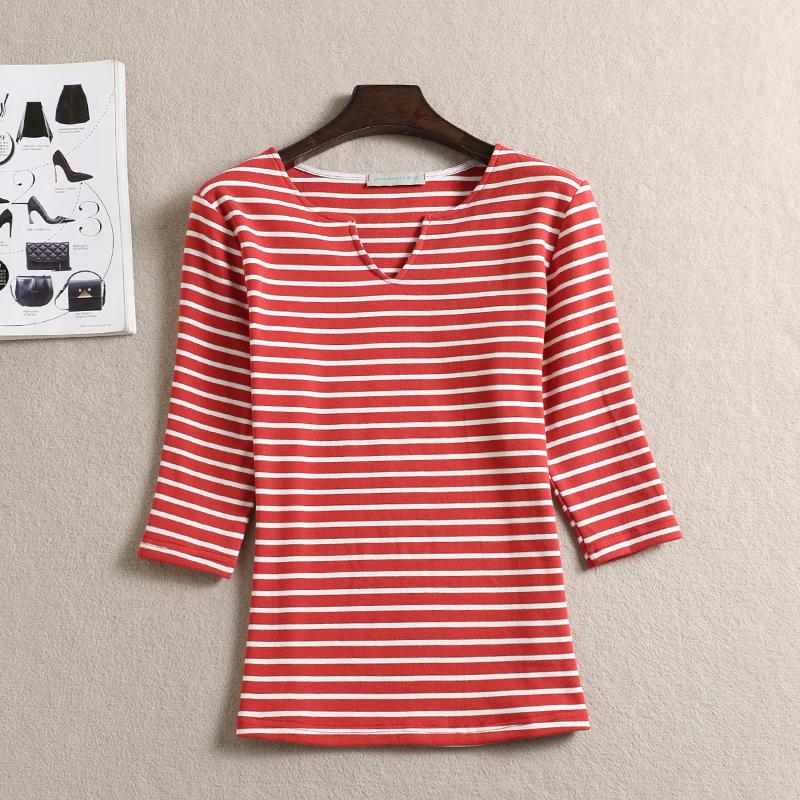 春秋新款女装纯棉条纹大码V领T恤打底衫针织衫七分袖中袖女士上衣