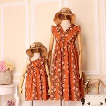亲子装夏装新款沙滩海边彩色波西米亚风情连衣裙显瘦大码母女时装