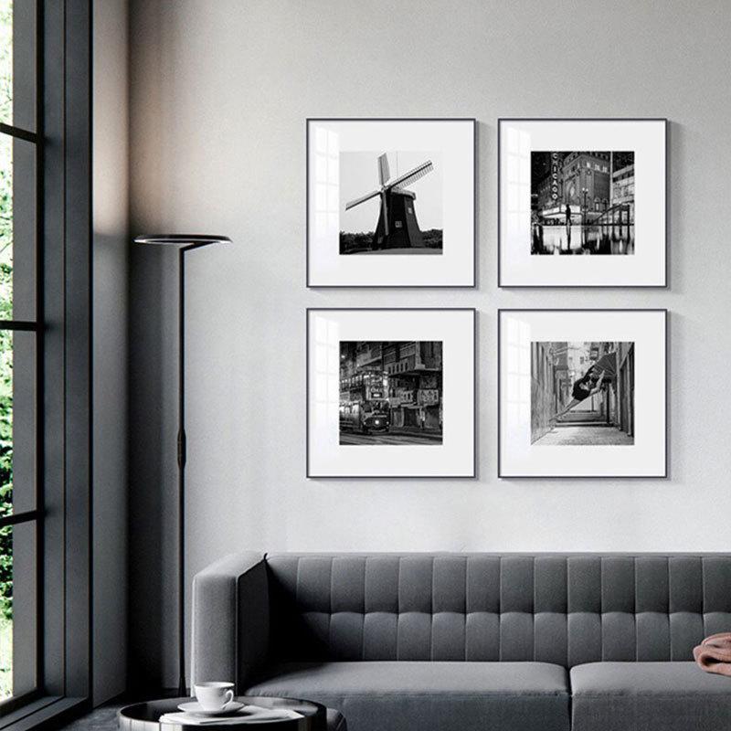 黑白摄影组合小众艺术样板房挂画