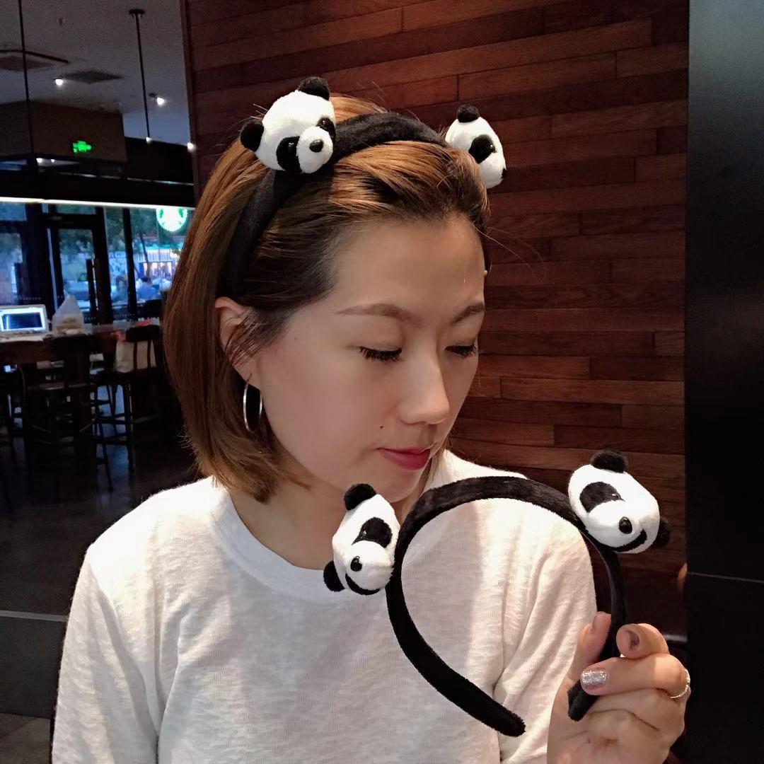 限100000张券包邮韩国同款毛绒洗脸必用卡通熊猫萌物发箍可爱少女发卡网红头箍