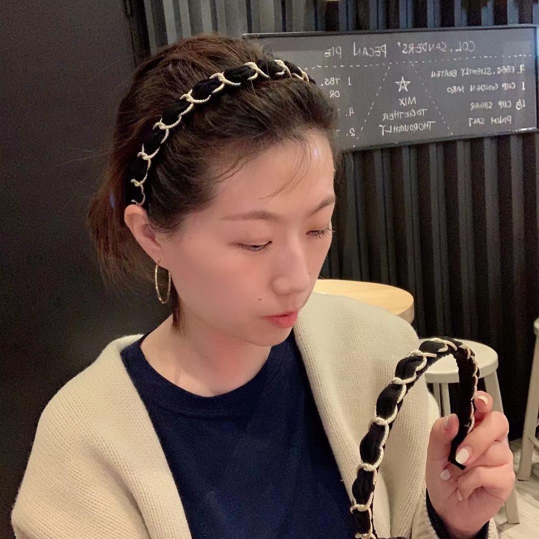 韩国东大门同款链条发箍ins少女布艺简约发卡气质百搭细边头箍