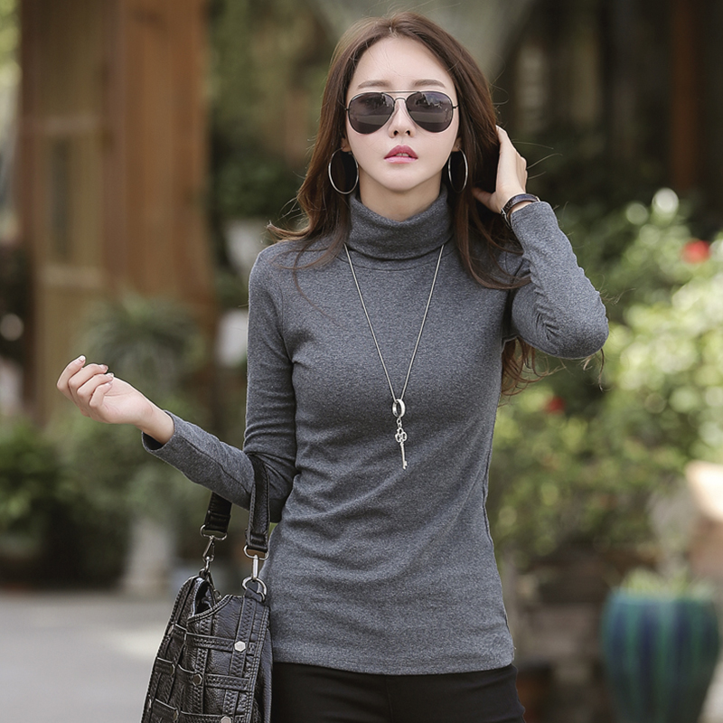 High collar T-shirt with cotton top and bottom T-shirt for women with long sleeves thickened and plush to slim down and wear thermal underwear in autumn and winter