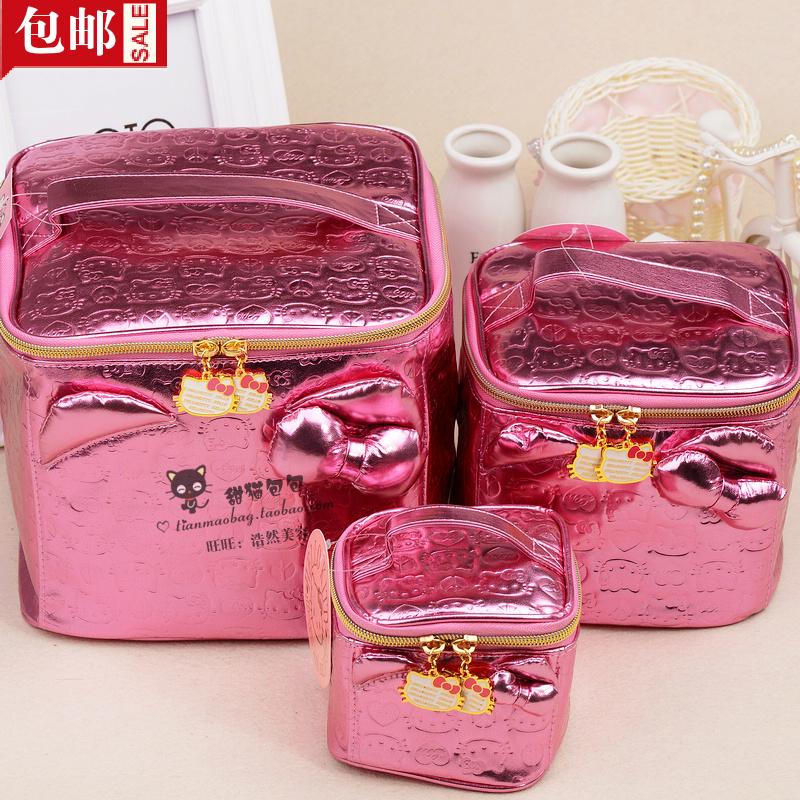 包邮出口hellokitty可爱粉色压花韩国韩版立体便携专业彩妆化妆箱