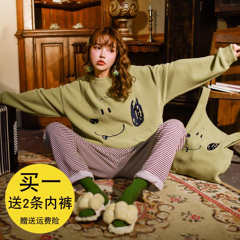 Gill Aimar少女软绵绵粒粒绒睡衣秋冬卡通套装日系加厚保暖家居服