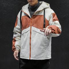 电商A047-MY909-P135 日系工装夹克大码拼色棉衣连帽外套学生青年