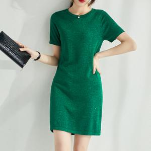 2020新款韩版圆领连衣裙女中长款t恤金葱绿针织短袖薄款显瘦长裙